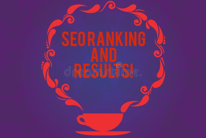 显示Seo等级和结果的文本标志 概念性照片搜索引擎优化统计逻辑分析方法茶杯与 向量例证