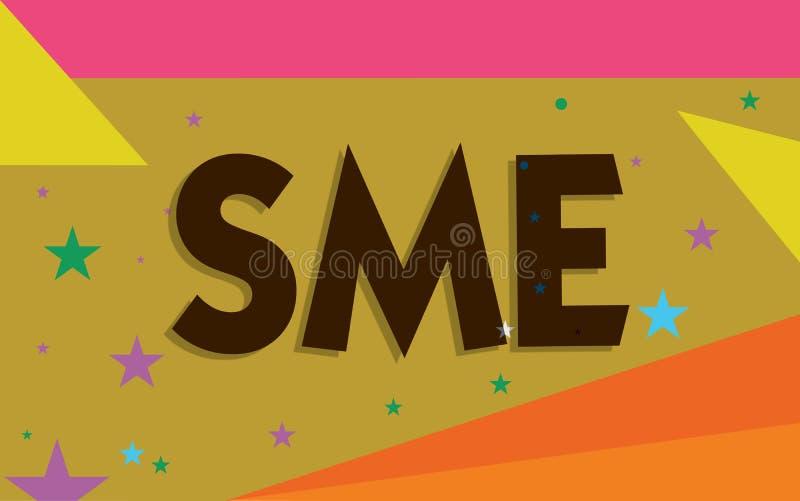 显示Sme的概念性手文字 企业照片与不大于500位雇员小中等企业的文本公司 皇族释放例证
