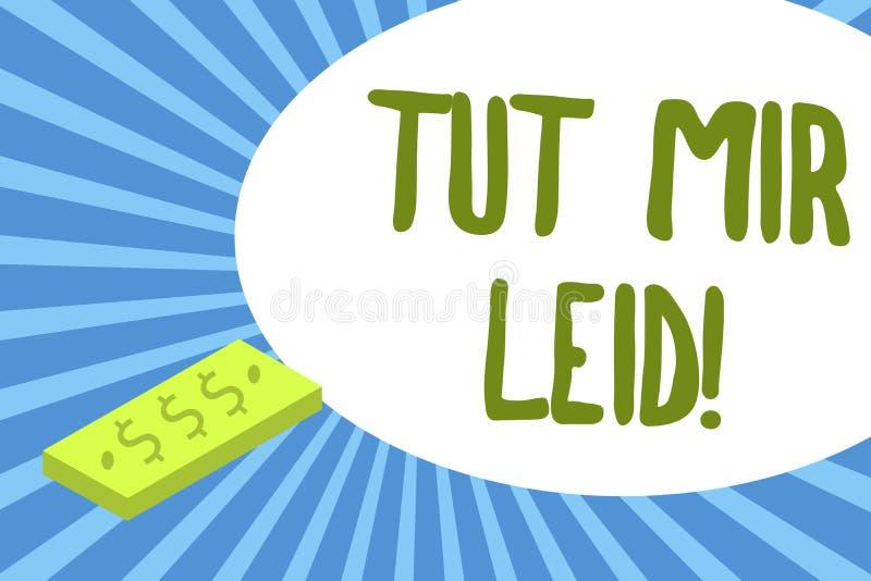 显示Tut Mir Leid的文字笔记 陈列企业的照片请求饶恕什么从前做了 向量例证
