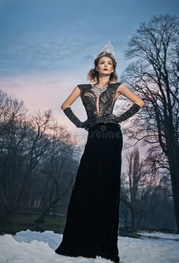显著摆在与在冬天风景的长的黑礼服和银冠状头饰的可爱的小姐 有多云天空的深色的妇女 免版税库存图片