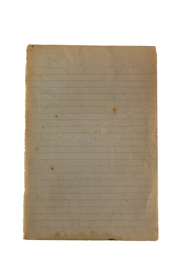 显露染黄的老备忘录纸,空白,被排行 免版税库存图片