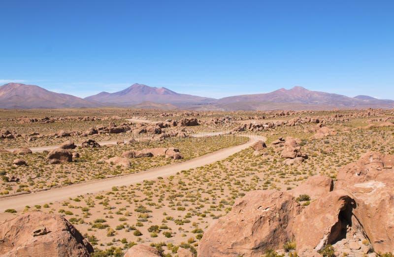 晃动谷 瓦尔De Las Rocas在玻利维亚的阿尔蒂普拉诺高原在乌尤尼盐沼盐舱内甲板附近的 库存图片