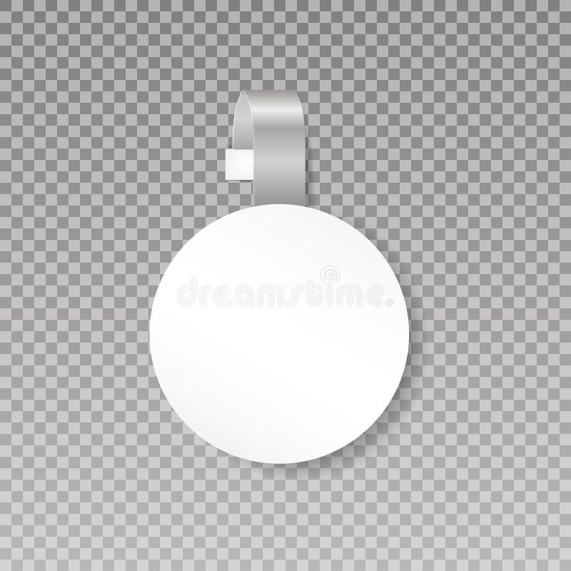 晃摇物或销售点标记嘲笑 空白的白色圆的Papper塑料广告价格晃摇物正面图 在透明 皇族释放例证