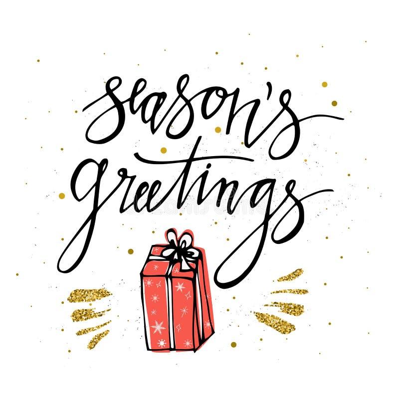 晒干` s与圣诞节礼物,金子闪烁元素的贺卡 由克里斯的刷子递在书法题字上写字 皇族释放例证