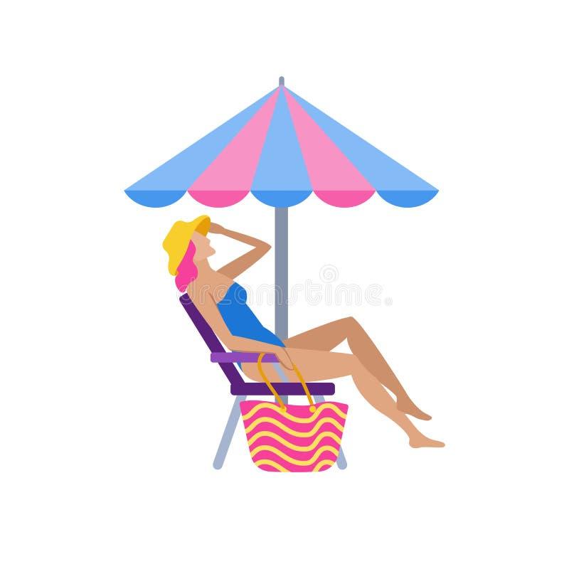 晒日光浴在海滩平的字符的女孩 向量例证