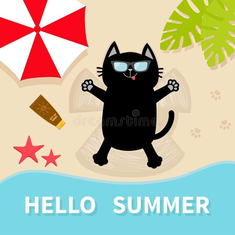 晒日光浴在海滩的恶意嘘声 太阳镜 做沙子雪天使 你好夏天 顶面鸟瞰图 海滩,海海洋,伞, 向量例证