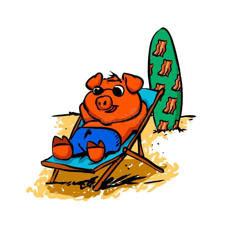 晒日光浴在海滩的猪 向量例证
