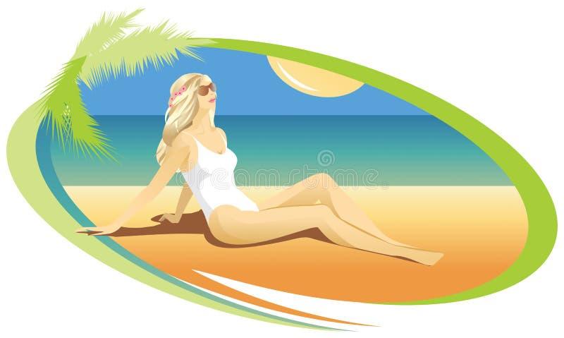 晒日光浴在海滩的白肤金发的女孩 库存图片