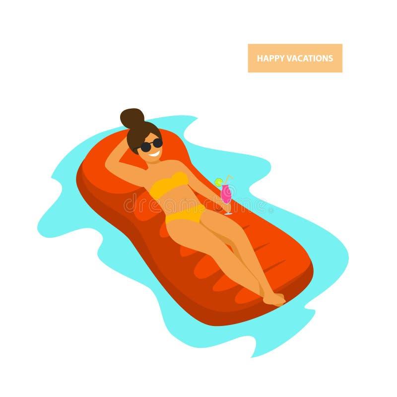 晒日光浴在游泳池的可膨胀的床垫的女孩 皇族释放例证