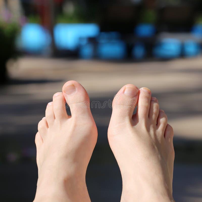 晒日光浴由在马德拉的一个水池的妇女的脚 免版税库存照片