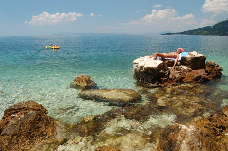 晒日光浴的克罗地亚 库存图片