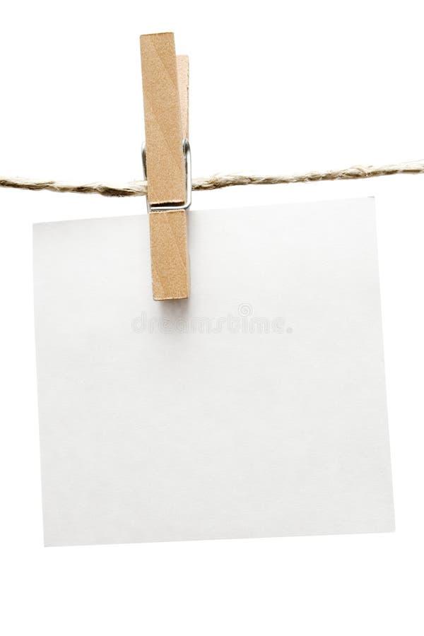 晒衣夹附注 免版税库存图片