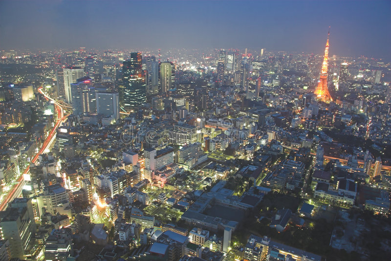 晚上东京视图 库存照片