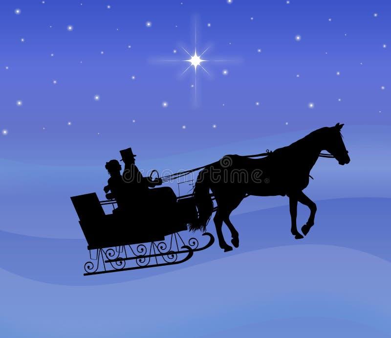 晚上乘驾雪橇 向量例证