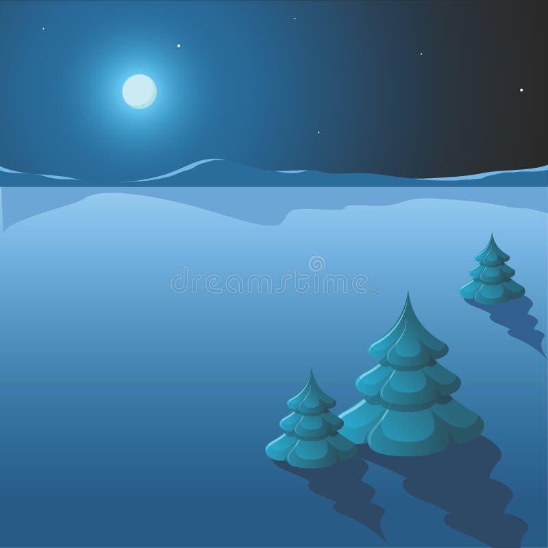 晚上冬天 皇族释放例证