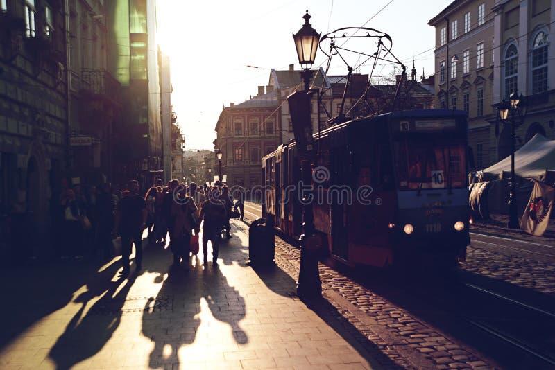 晚上利沃夫州,乌克兰 免版税库存图片