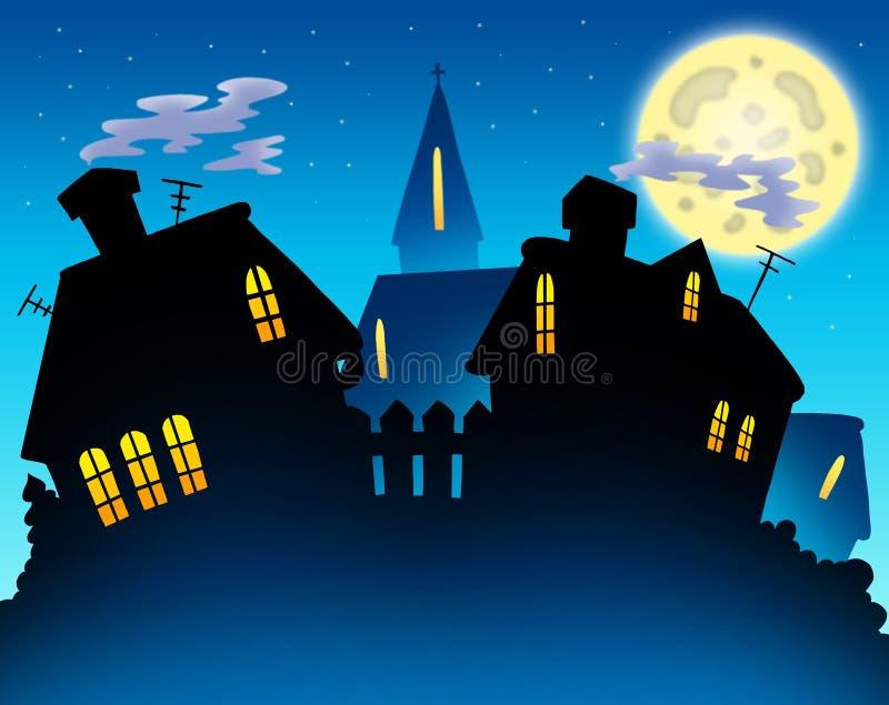 晚上剪影地平线村庄 向量例证