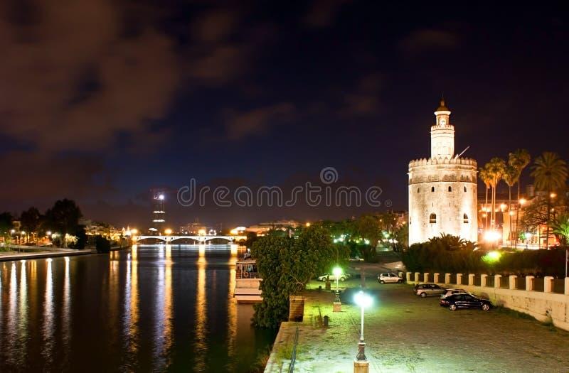 晚上在塞维利亚 库存图片