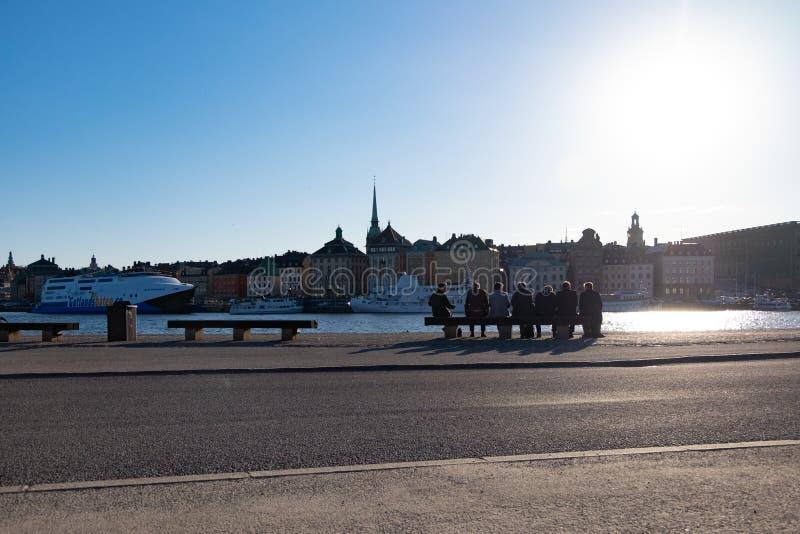 晚上在斯德哥尔摩 免版税库存照片
