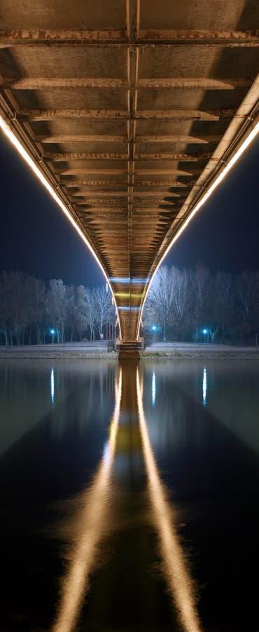 晚上在桥梁下 免版税库存图片
