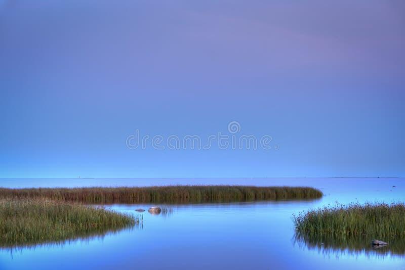 晚上在Ronehamn,哥得兰岛,瑞典 库存图片
