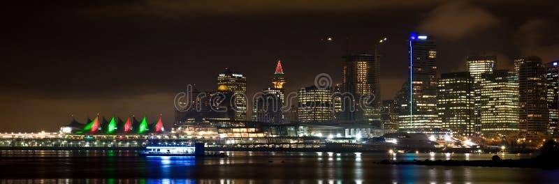 晚上地平线温哥华 免版税库存照片