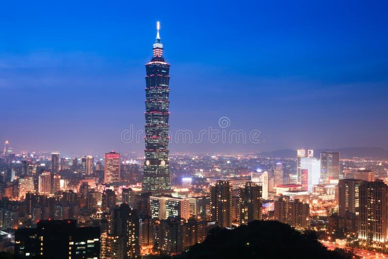 晚上场面台北台湾 免版税图库摄影