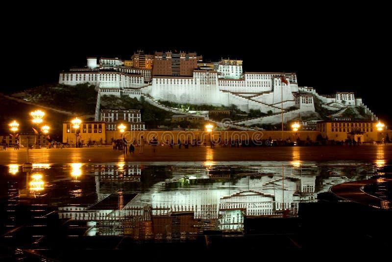晚上宫殿potala视图 免版税库存照片