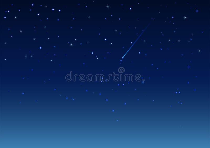 晚上射击天空星形 库存例证