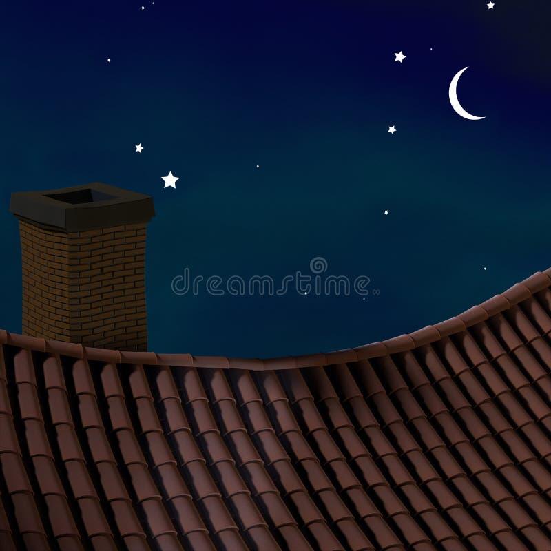 晚上屋顶 皇族释放例证