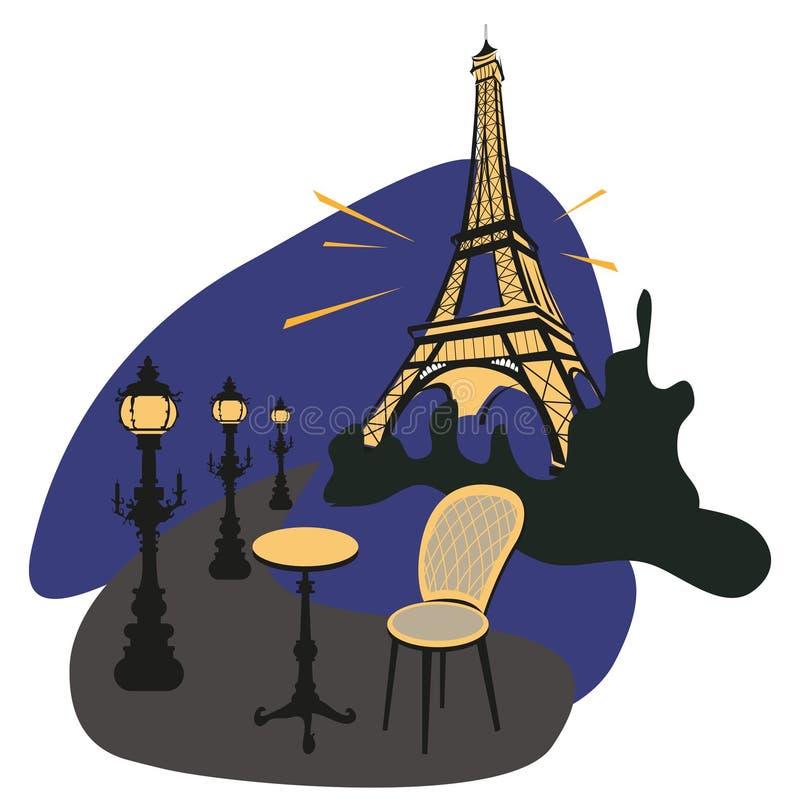 晚上巴黎 向量例证