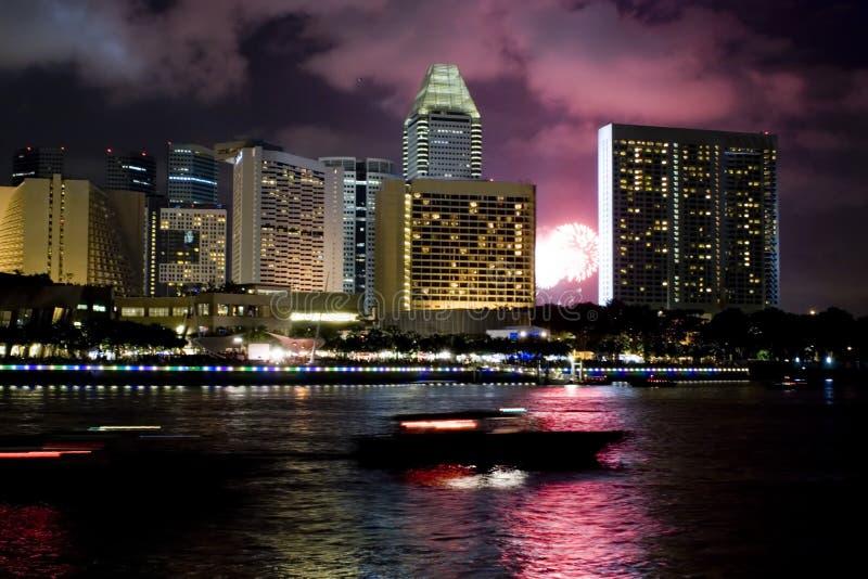 晚上新加坡 库存照片
