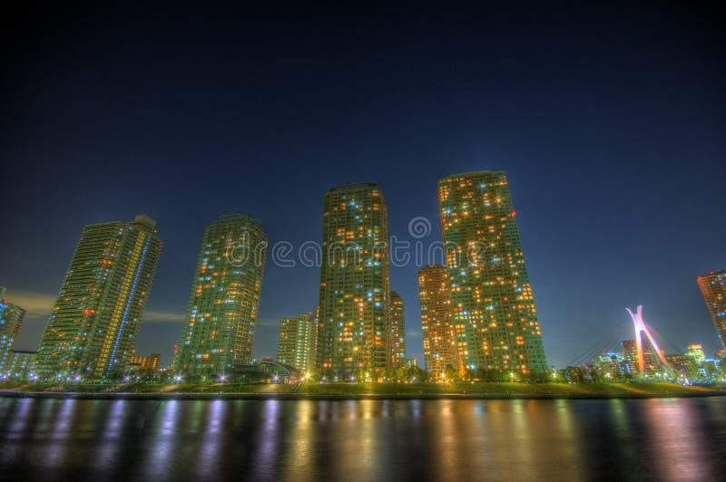 晚上横向HDR在东京 免版税库存照片