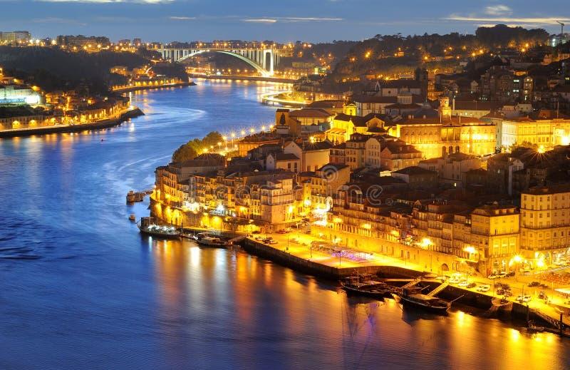 晚上波尔图葡萄牙 免版税库存照片