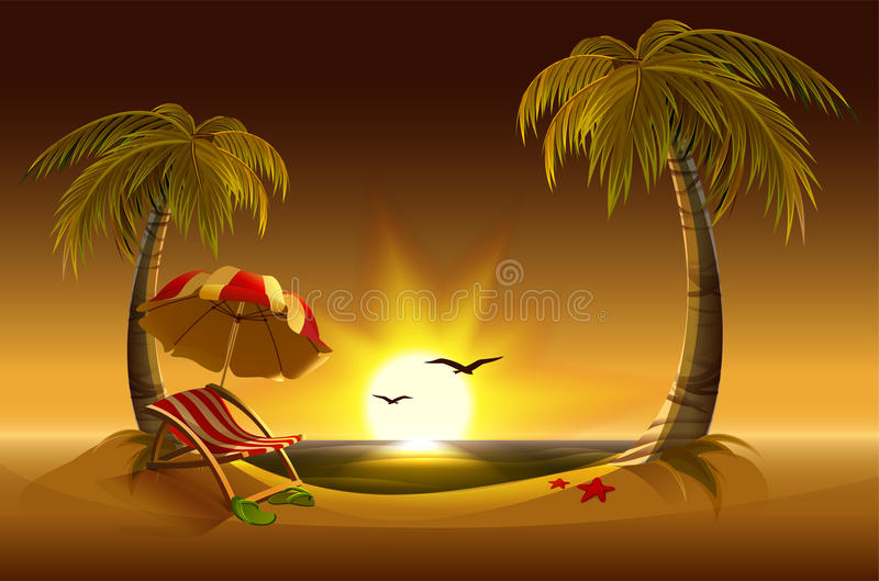 晚上海滩 海、太阳、棕榈树和沙子 浪漫暑假 向量例证