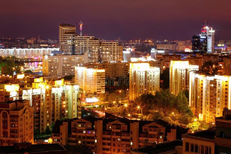 晚上米斯克,白俄罗斯,欧洲的首都 免版税库存照片