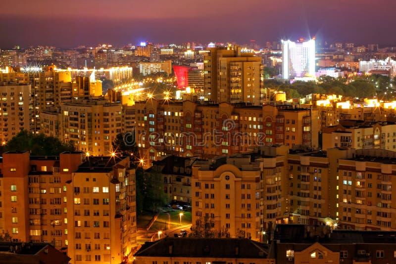 晚上米斯克,白俄罗斯,欧洲的首都 库存照片