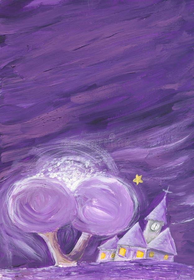 晚上紫色 库存例证