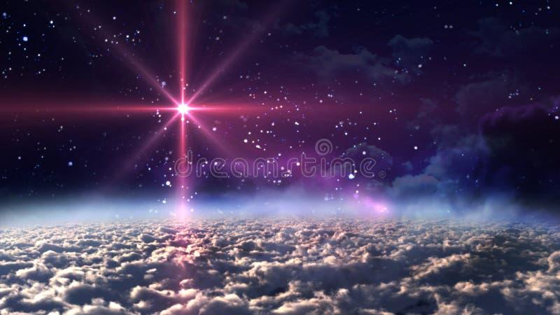 晚上红色空间星形 图库摄影