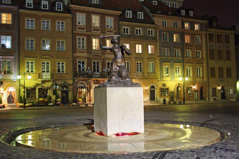 晚上老波兰城镇华沙 免版税库存照片