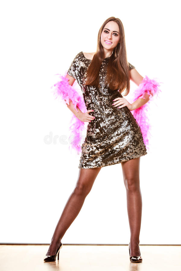 晚上衣服饰物之小金属片礼服的端庄的妇女 免版税库存图片