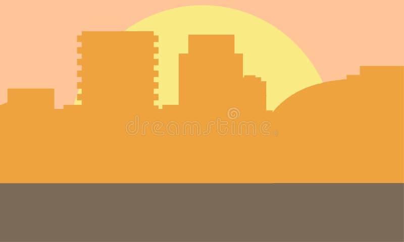 晚上都市风景传染媒介例证 日落风景概念 日落的城市 库存例证