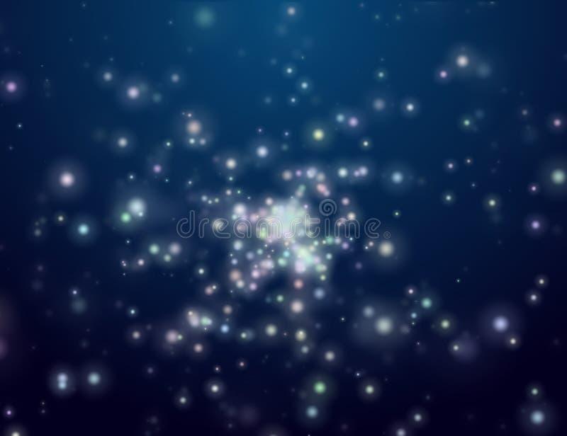 晚上露天空间星形 库存例证
