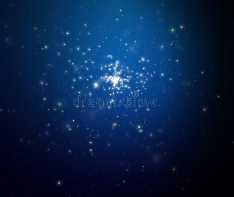 晚上露天空间星形 向量例证