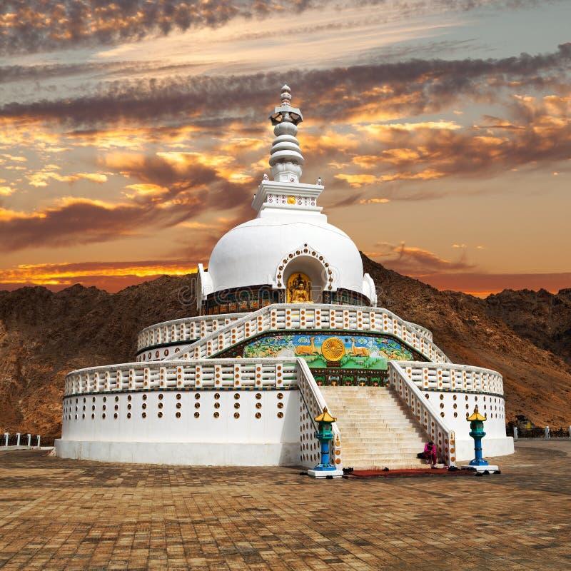 晚上高Shanti Stupa日落视图在Leh附近的 免版税库存照片