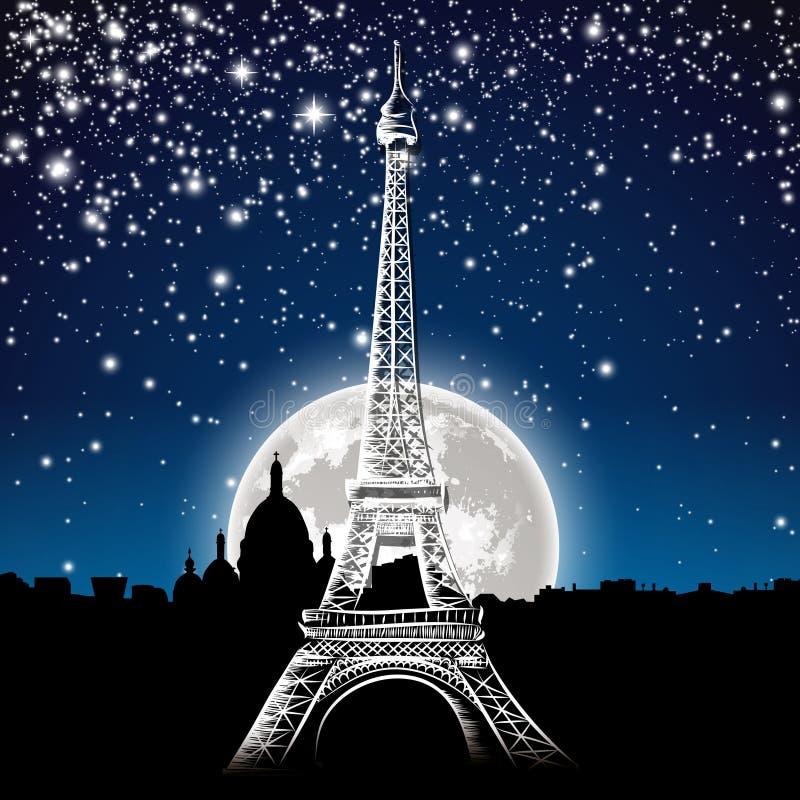 晚上巴黎 库存例证