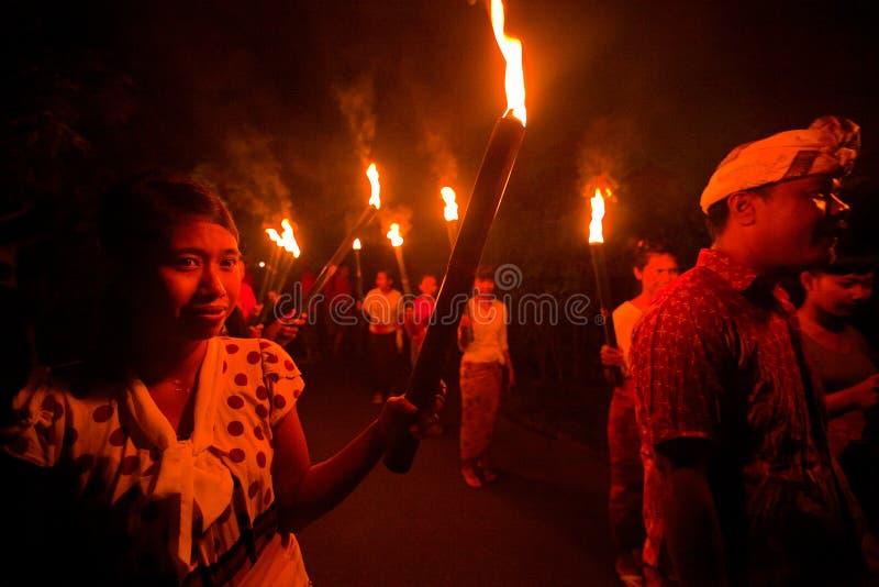 晚上Nyepi -巴厘语新年度 免版税库存照片