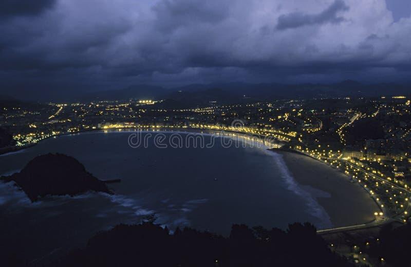 晚上San Sebastian视图 免版税图库摄影