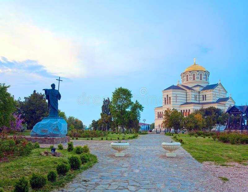 晚上St弗拉基米尔大教堂教会(Chersonesos,塞瓦斯托波尔) 库存照片