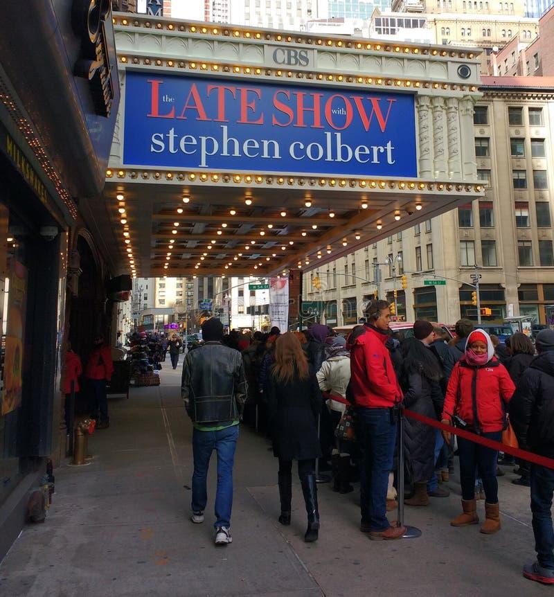 晚展示的线与史蒂芬・科拜尔,埃德・沙利文剧院, CBS演播室50, NYC,美国 免版税库存照片